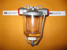 TRIUMPH VAUXHALL (AC DELCO TYPE) GLASS BOWL HIGH FLOW FUEL FILTER